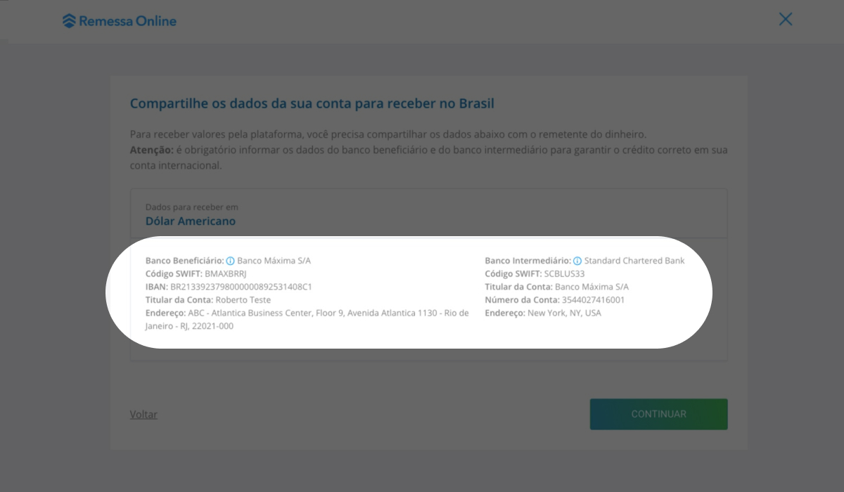 Imagem do site da Remessa Online com destaque para as informações de dados bancários