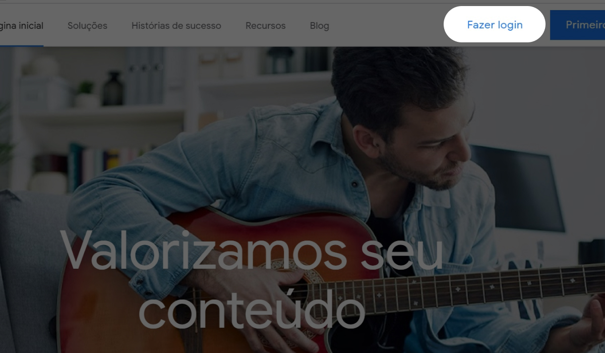 """Imagem do site do Google Adsense com destaque para o botão """"Fazer login"""""""