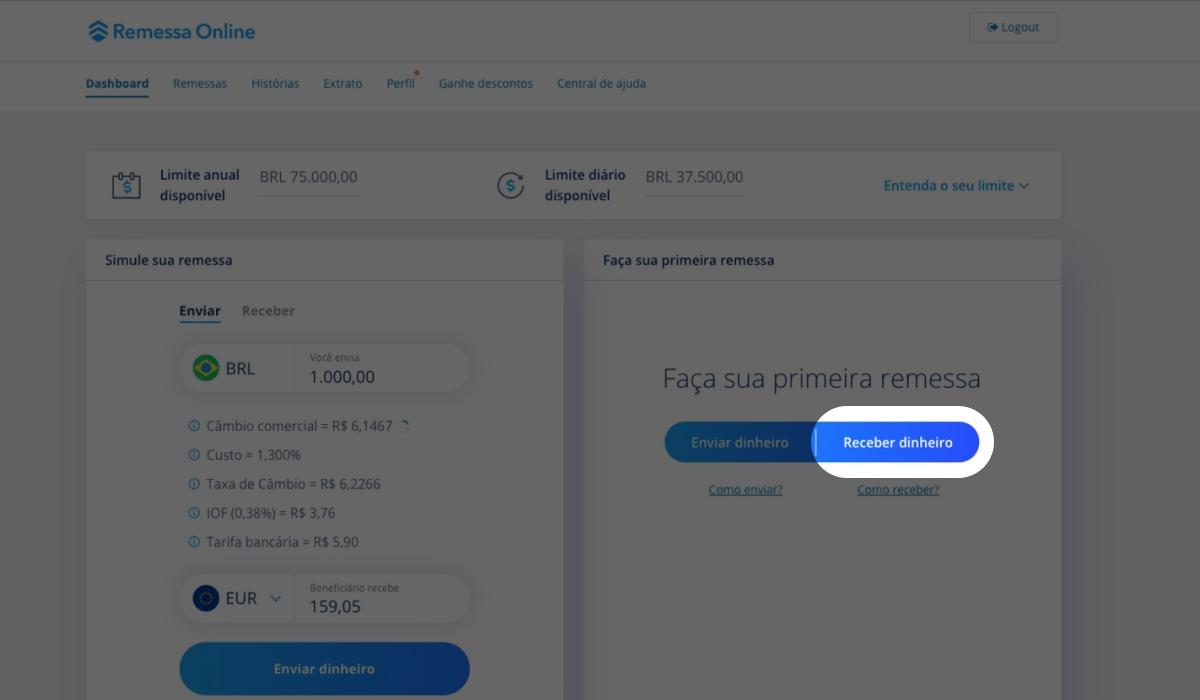 """Imagem do site da Remessa Onlide com destaque para o botão """"Receber Dinheiro""""."""