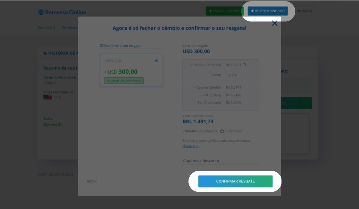 """Imagem do site da Remessa Online com destaque para o botão """"Receber dinheiro"""" e também para o botão """"Confirmar resgate"""""""