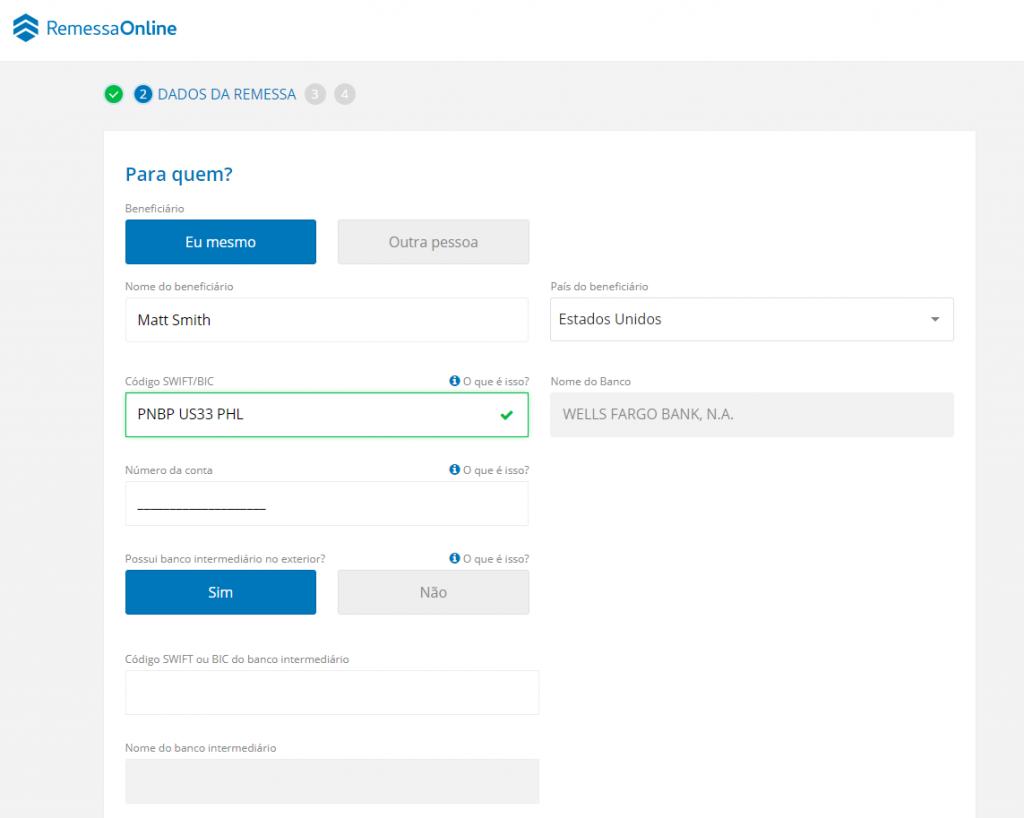 Como preencher o campo banco intermediário no site da Remessa Online.