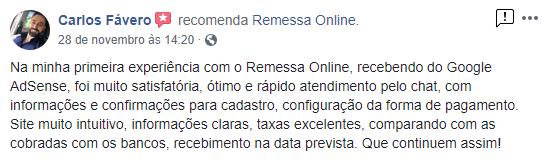 Cliente recomenda os serviços da Remessa Online