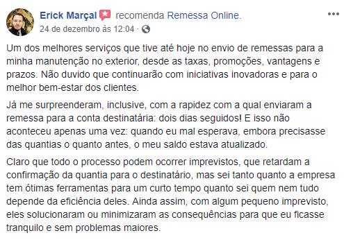Cliente satisfeito com a Remessa Online