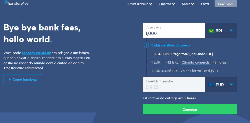 Dashboard inicial da TransferWise