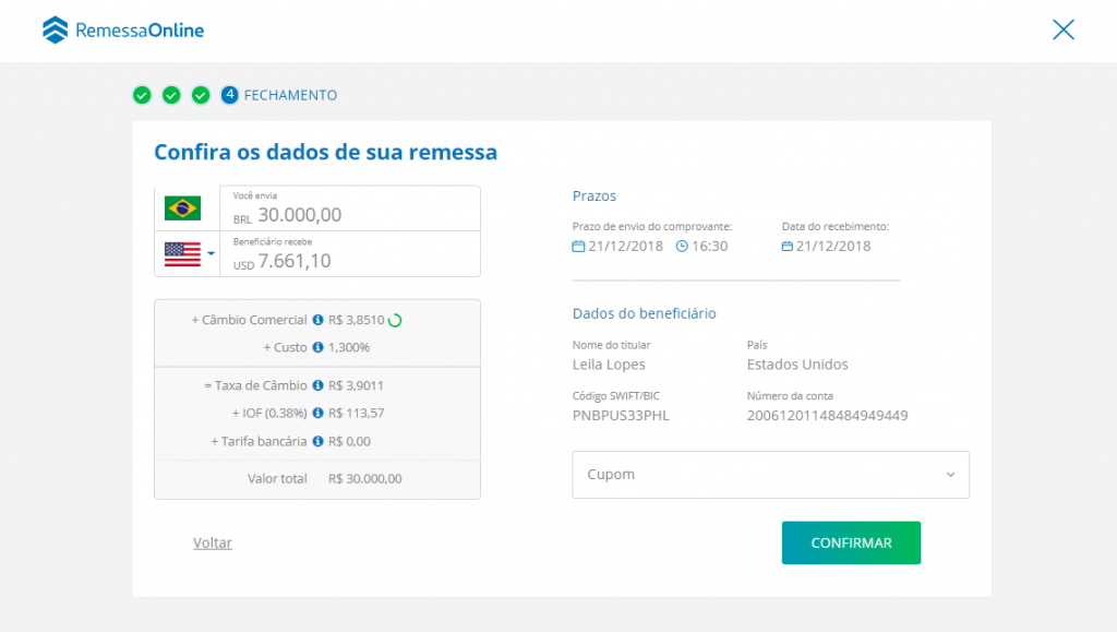Dashboard Remessa Online