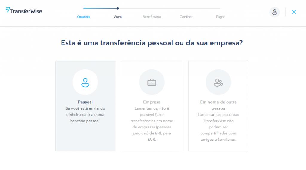 Na TransferWise, envios de pessoas jurídicas não podem ser realizados.