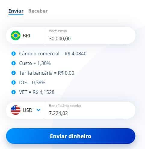 Simulação envio Remessa Online 19 de setembro de 2019