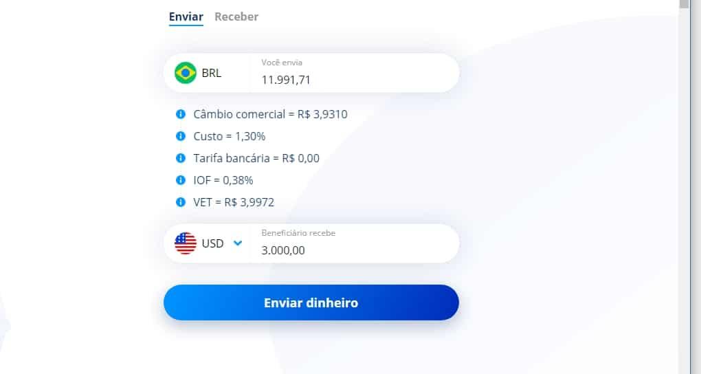 Simulador online Transferência bancária internacional