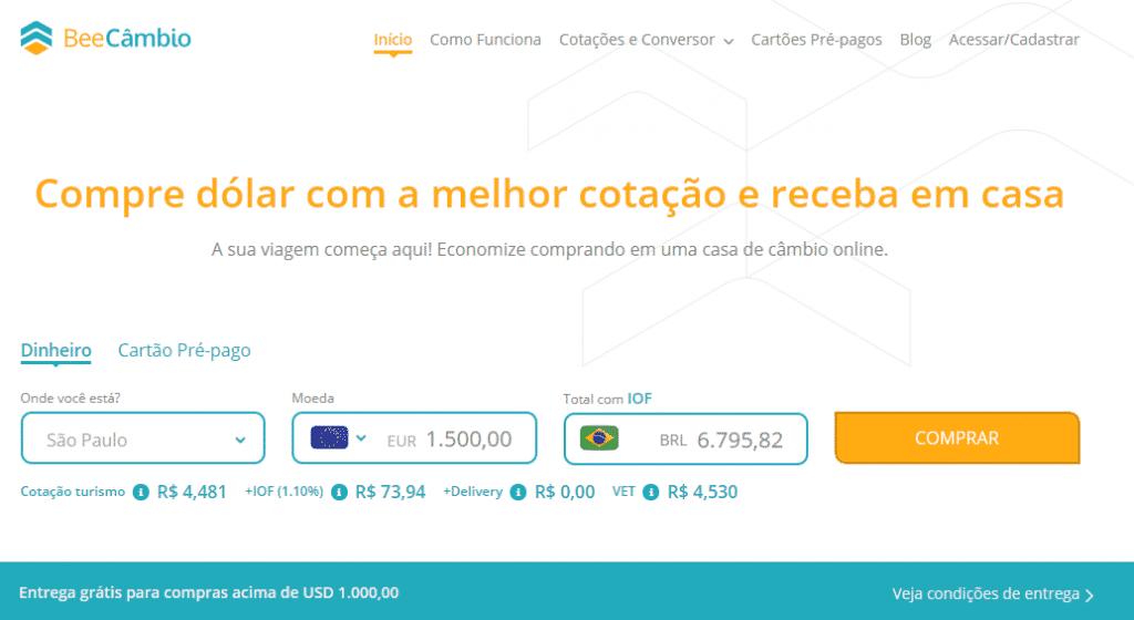 Tela inicial da BeeCâmbio - onde comprar euro é simples e rápido!