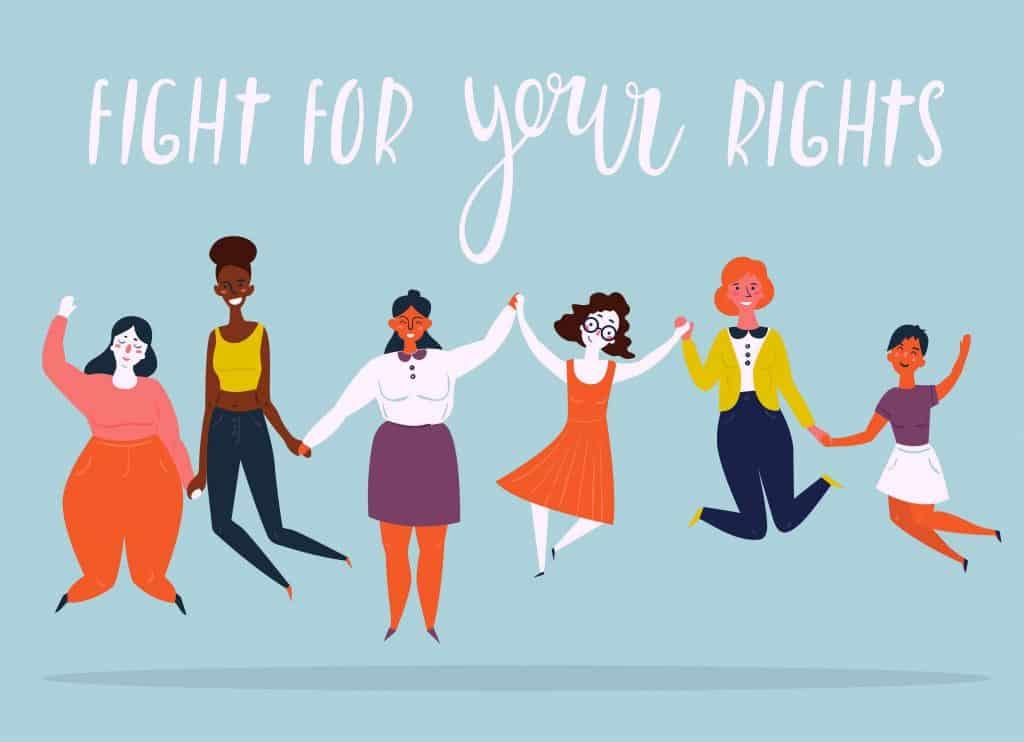 mulheres lutando por seus direitos