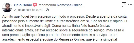 Cliente satisfeito com a Remessa Online postou comentário no Facebook