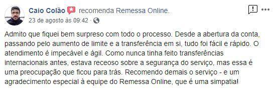 avaliacao positiva remessa online 2 - TransferWise: É seguro? Como funciona?