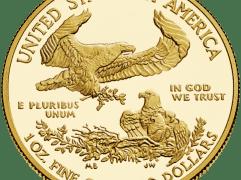 Moeda de Dólar Americano de USD $50, denominada American Gold Eagle