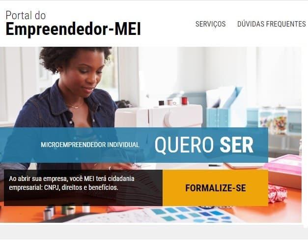 Página inicial do Portal do Empreendedor do Governo Federal, onde é possível se cadastrar como MEI e conseguir um CNPJ para atuar como freelancer.