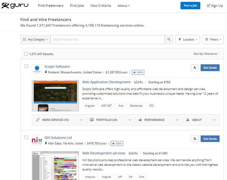 interface da Guru - Trabalho Freelancer no Exterior: Conheça os principais sites!