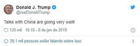 tuite trump 2 - Forte valorização do Real frente às moedas dos países emergentes
