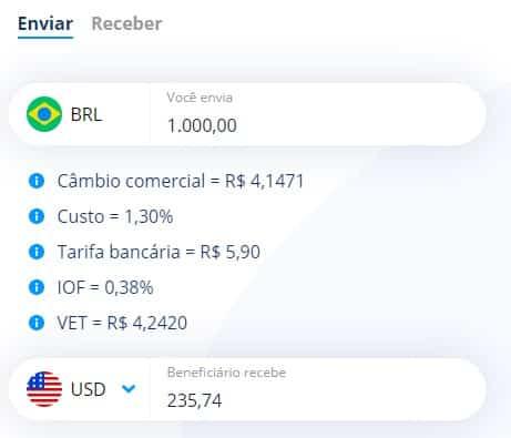 Pela Remessa Online, um envio de R$ 1.000,00 se torna R$ 235,00 para o cliente final