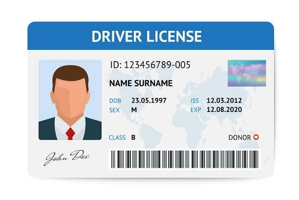 Modelo de Drive License, a carteira de motorista americana. Ela é bem parecida com a CNH brasileira e também serve como documento de identificação.
