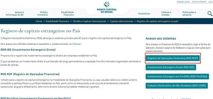 Ao acessar a página de Registro de capitais estrangeiros do Banco Central, procure o sistema RDE-ROF no lado direito da tela.