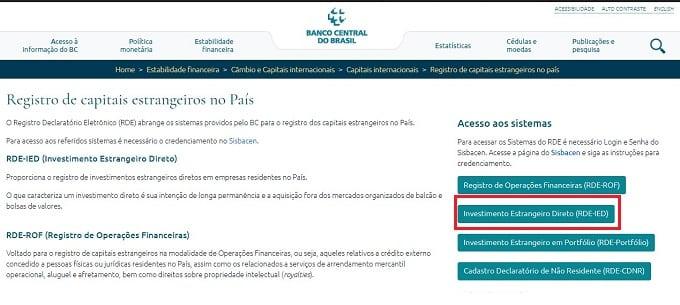 Ao acessar a página de Registro de capitais estrangeiros do Banco Central, procure o sistema RDE-IED no lado direito da tela.