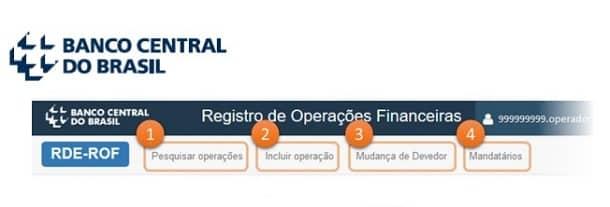 Ao fazer login no sistema RDE-ROF você terá acesso a 4 menus: Pesquisar operações, Incluir operação, Mudança de devedor e Mandatários.