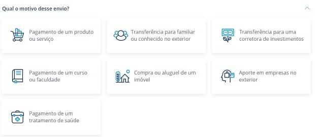 Essas são as naturas de envio que você encontra na plataforma da Remessa Online.