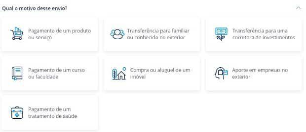 naturezas de envio da Remessa Online - Transferência internacional Bradesco