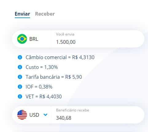Logo na página inicial da Remessa Online você encontra um simulador que permite que você veja quanto será o valor da sua remessa de acordo com o câmbio do momento.