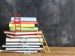 Livros sobre investimentos: pilhas de livros com capas coloridas
