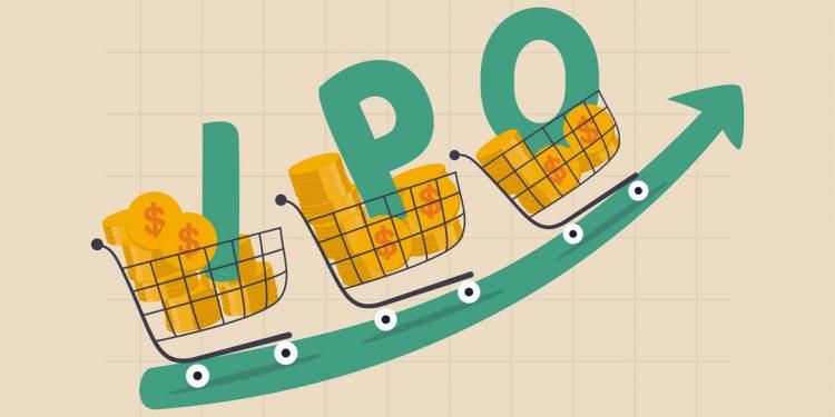 IPO: Ilustração com três carrinhos de compras, cada um com uma letra da sigla dentro.